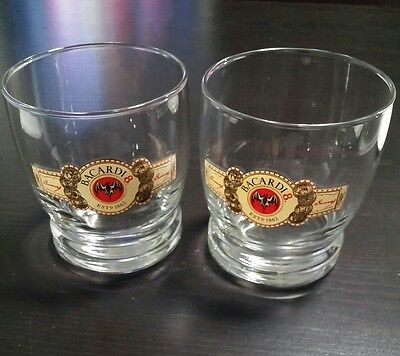 Set Of Two Bacardi 8 Rocks Glasses Rum Cocktails Red Bat Rare Logo