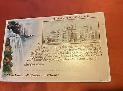 Advertising Postcard for Shredded Wheat in Niagra Falls. Unposted