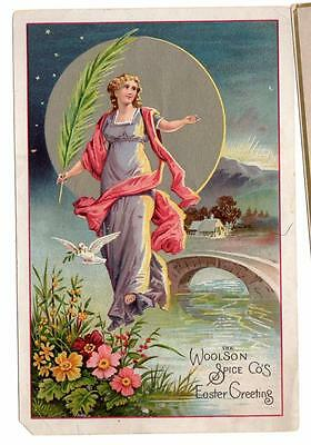 Vintage 1800's Victorian Lion Coffee Woolson Spice Co Toledo Trade Card Easter