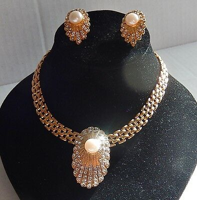 Vintage Gold-tone Faux Pearl & Rhinestone Necklace And Pierced Earring Set