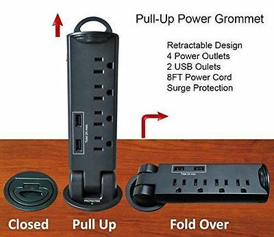 Desktop Pull-Up PowerTap Grommet with Surge Protector and USB - NEW