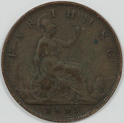 1885 Great Britain Queen Victoria Farthing - EARLY DATE