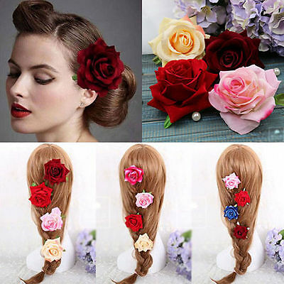 Rose Flower Hair Clip Hairpin Brooch Wedding Bridal Bridesmaid Party Accessories