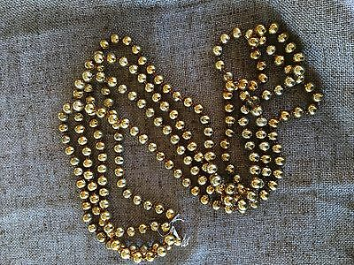 "Vintage 1940's Gold 1/2"" Round Mercury Glass Bead Feather Tree Garland, 108"""