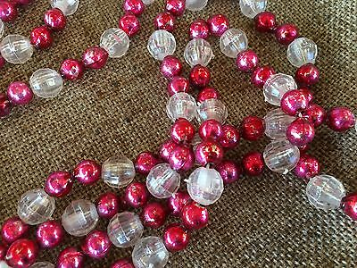 Vintage Mercury Glass Round Pink, Clear Faceted Lucite Bead Feather Tree Garland
