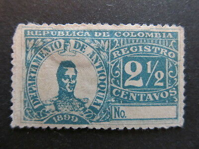 A3P25 Colombia Antioquia Registration Stamp 1899 2 1/2c mh* #38