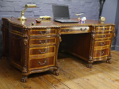 Large Brown Leather Top Lion Head Mahogany Twin Pedestal Partners Writing Desk
