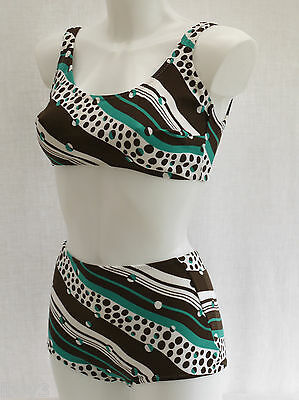 SUPERB 60's VINTAGE LADIES STYLISH 2 PIECE BIKINI SWIMMING COSTUME 12-14 NEW