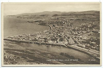 ISLE OF MAN - PEEL FROM  HILL Postcard (RAILWAY STATION at RIGHT)