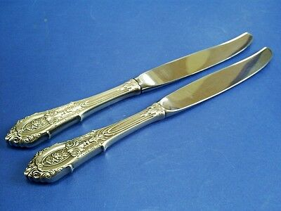 1930s TWO VINTAGE WALLACE STERLING SILVER ROSE POINT HANDLE DESSERT/SALAD KNIVES