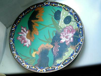 Antique Japanese cloisonne charger Crab lillies and flower decoration C1880