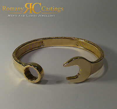 Men's Solid Spanner Bangle Bracelet Sterling Silver Dipped in  9 or 18ct Gold