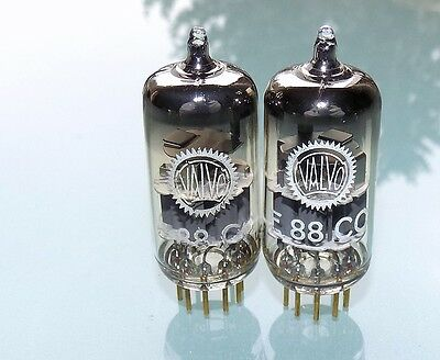 Pair Amperex E88CC/6922 Holland Heerlen production tubes grey shield NOS matched