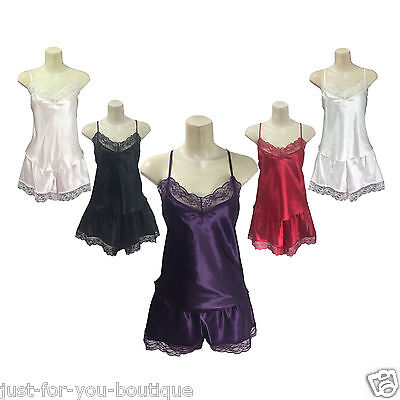 Satin Cami SET Camisole Shorts Lace French Knickers Size 10 12 14 16 18 20 22 24