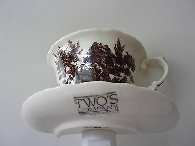 Brown and Off White Beige Tea Cup Night Light by Two's Company