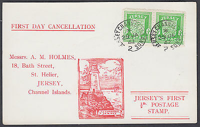 1942 Jersey Occupation'Arms'1/2d+1/2d green Illustrated 'FDC'Postcard;Jersey CDS