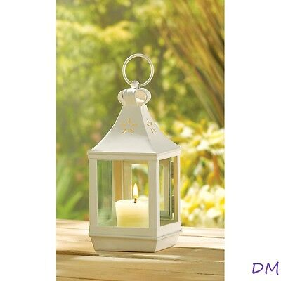 Lot of 12 White Square Garden Candle Lanterns Wedding Table Centerpieces