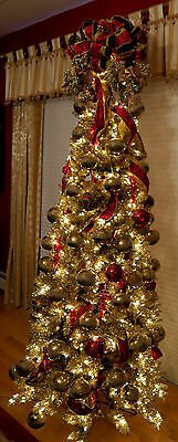 """Platinum Gold/Silver Fully Decorated 89"""" Artificial Christmas Tree - Estate ISW"""
