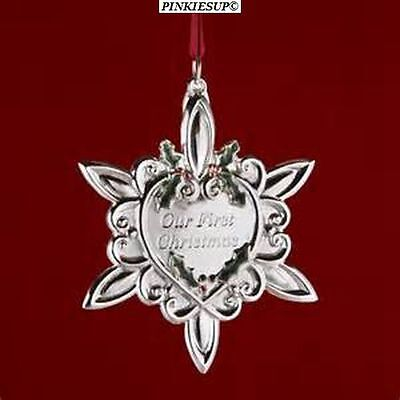 """2006 Gorham Silver Plated """"our First Christmas"""" Snowflake Tree Ornament New"""