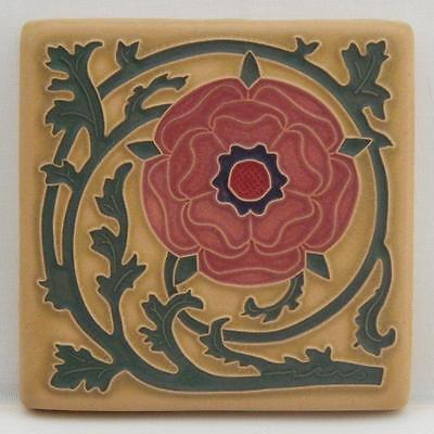 4x4 Arts & Crafts Tudor Rose Tile in Coral by Arts & Craftsman Tileworks