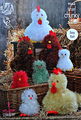 KNITTING PATTERN Easy Knit Easter Hens & Chicks Tinsel Chunky King Cole 9064