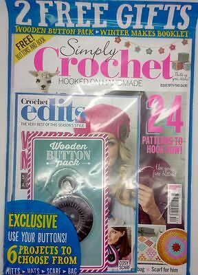 Simply Crochet Magazine 52 - Free Wooden Buttons Pack - Winter Makes Book