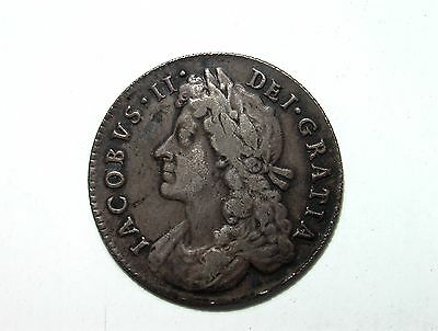 1686 Shilling - King James The 2Nd British Silver Coin ... Rare ...