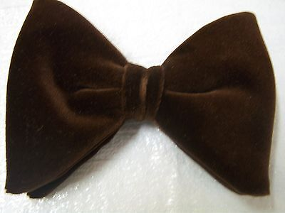 New Brown Velvet bow tie - mens clip on style - Large Butterfly Bow 70's vintage