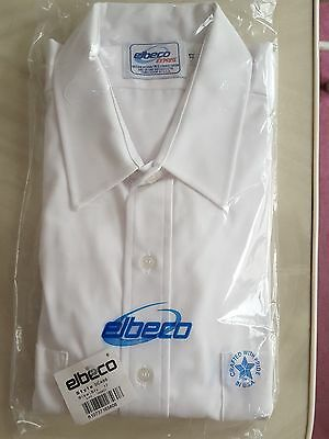 Men's Elbeco White Uniform Button Down Short Sleeve Dress Shirt. OCA66 Size 17