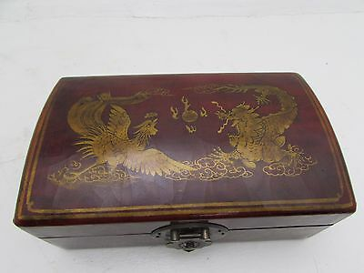 Antique Chinese Red Lacquered Leather Mahjong Set With Erotic Scene Inside