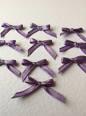 10 Pretty in Purple/Gold Ribbon bows  for card making/scrap booking help charity