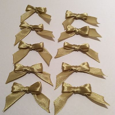 10 Pale Gold 10mm Ribbon bows �� for card making/scrap booking help charity