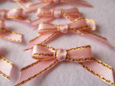 10 Pretty Baby Pink/Gold Ribbon bows  for card making/scrap booking -charity