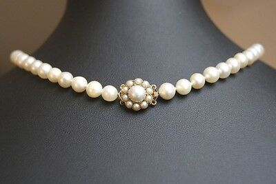 Fine Vintage Single Strand Cultured Pearl Necklace Choker & Pearl Cluster Clasp