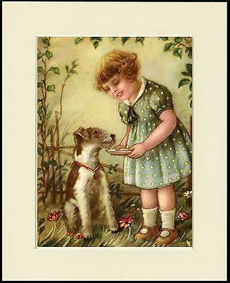 Wire Fox Jack Russell Terrier And Little Girl Dog Print Mounted Ready To Frame