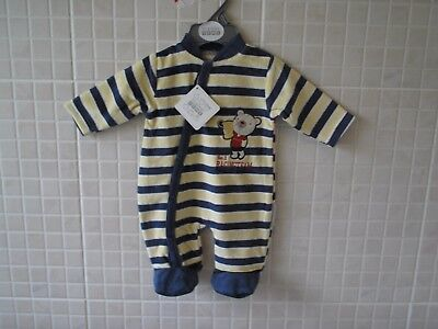 Baby boy clothes sleepsuit all in one babygrow velour NB 0-3mth 3-6mths striped