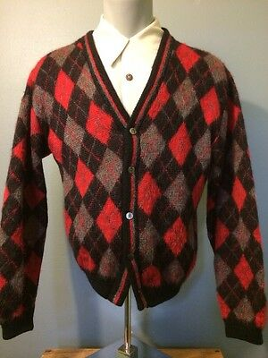 Vtg Argyle Boyfriend Sweater Mohair Wool 50s Mens Rockabilly VLV Cardigan Atomic