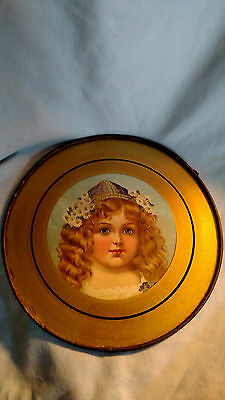 Vintage Flue Cover - Child with Hat and Flowers in Her Hair - Terre Haute, IN