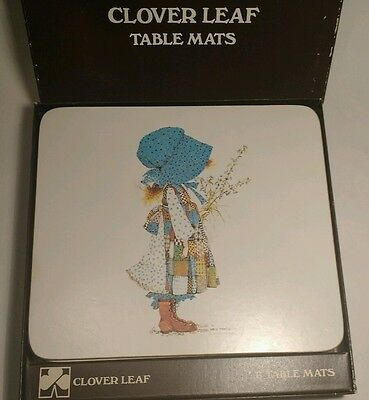 Vintage clover leaf table mats x6 cute kitsch patchwork girl Holly Hobbie boxed