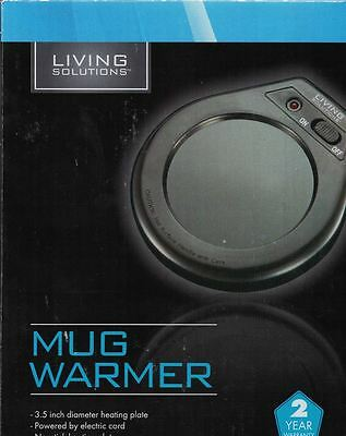 Living Solutions MUG WARMER Heating Plate Black On/Off Switch New in Box