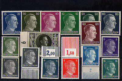 lot série 16 timbres allemands reich  Adolph Hitler  gomme ** LUXE 3