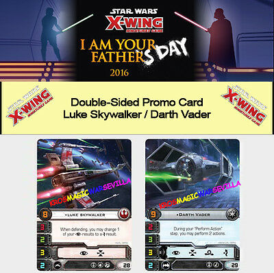 Star Wars X-Wing Luke Skywalker / Darth Vader Exclusive Promo Card Double-Sided