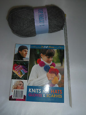 knitting kit with book, yarn and needles