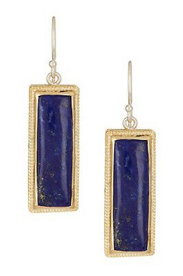 ANNA BECK Sterling Silver 18k Gold Lapis Stone Rectangle Drop Earrings  NEW
