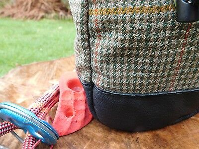 Climbing Bouldering Chalk Bag,Tweed & Leather,Draw Cord,Sherpa Fleece Lined