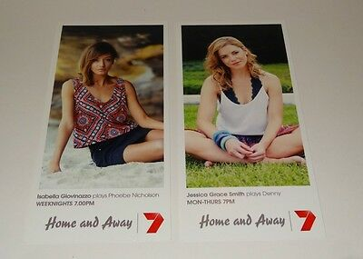 HOME AND AWAY FAN CARDS x2 NEW ISABELLA & JESSICA - PHOEBE & DENNY