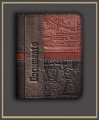 BROWN Genuine LEATHER Auto Documents COVER Drivers Licence ART HANDMADE 41