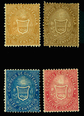 GUATEMALA 1871 Coat of Arms - 1st issue set - Sc# 1-4 mint MH