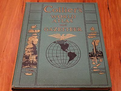 Antique 1941 COLLIER'S WORLD ATLAS and GAZETTEER large hardcover BOOK WW2 maps
