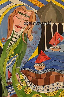 A5 art work signed by the artist original painting female / woman